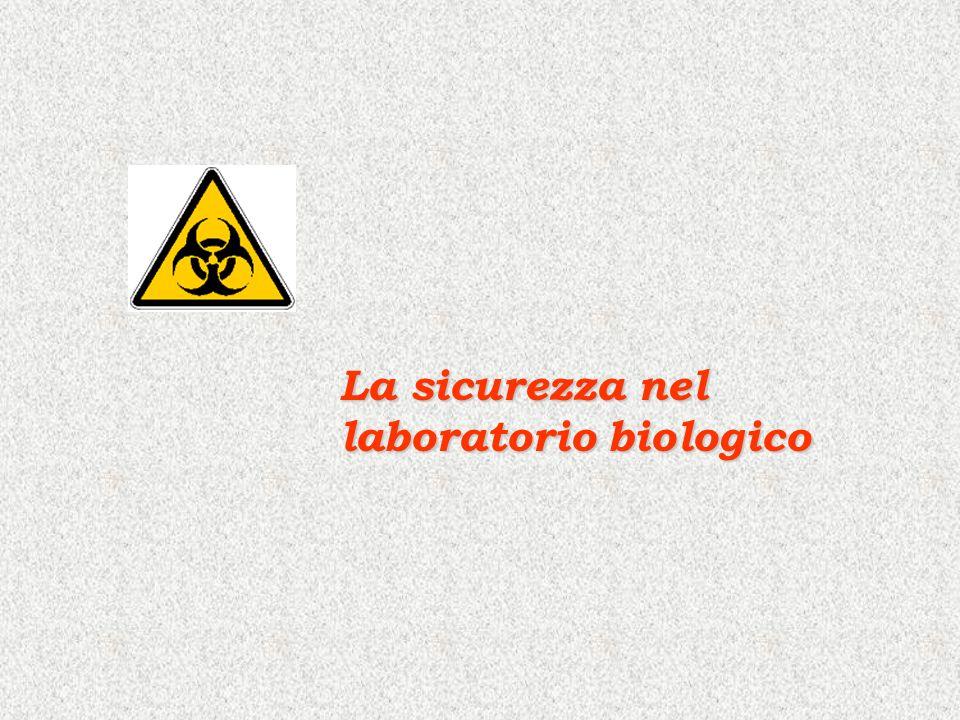 La Sicurezza in Laboratorio è è addestramento non sempre sufficientemente adeguato del personale (in particolar modo personale non strutturato, studenti, tirocinanti, dottorandi, borsisti, ospiti) La sicurezza in laboratorio è parte integrante di ogni attività (di diagnostica o di ricerca) Rischi in laboratorio Rischi in laboratorio legati a: è è pericolosità di materiali utilizzati (sostanze tossiche o corrosive, agenti biologici pericolosi, materiali radioattivi, sostanze infiammabili, ecc…) è è pericolosità delle apparecchiature (ad alto voltaggio, centrifughe ad alta velocità, sistemi a pressione, alte e basse temperature) è è affollamento, ristrettezza dello spazio