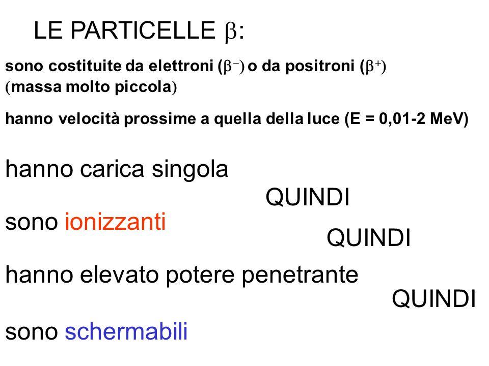 LE PARTICELLE : sono costituite da elettroni ( o da positroni ( massa molto piccola hanno velocità prossime a quella della luce (E = 0,01-2 MeV) hanno
