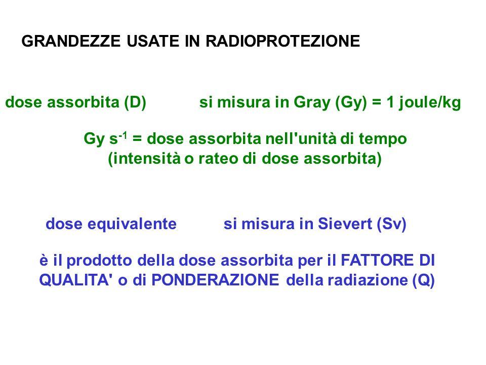 GRANDEZZE USATE IN RADIOPROTEZIONE dose assorbita (D) Gy s -1 = dose assorbita nell'unità di tempo (intensità o rateo di dose assorbita) si misura in