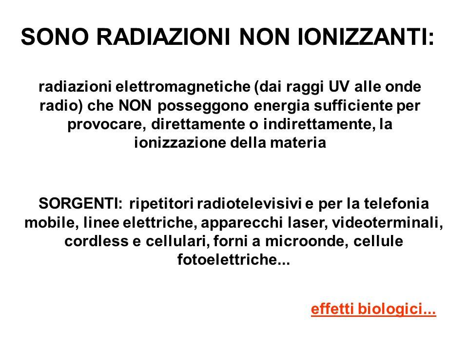 SONO RADIAZIONI NON IONIZZANTI: radiazioni elettromagnetiche (dai raggi UV alle onde radio) che NON posseggono energia sufficiente per provocare, dire