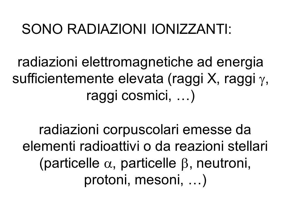 SONO RADIAZIONI IONIZZANTI: radiazioni elettromagnetiche ad energia sufficientemente elevata (raggi X, raggi, raggi cosmici, …) radiazioni corpuscolar