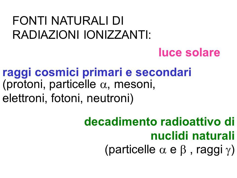 FONTI NATURALI DI RADIAZIONI IONIZZANTI: luce solare raggi cosmici primari e secondari (protoni, particelle, mesoni, elettroni, fotoni, neutroni) deca