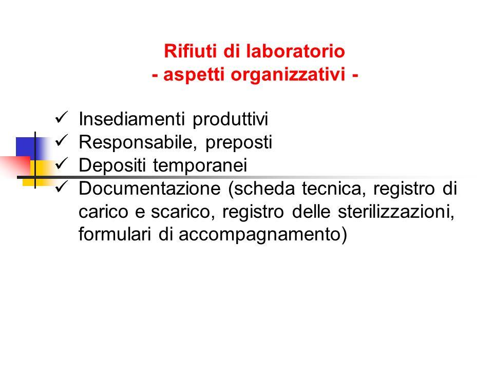 Rifiuti di laboratorio - aspetti organizzativi - Insediamenti produttivi Responsabile, preposti Depositi temporanei Documentazione (scheda tecnica, registro di carico e scarico, registro delle sterilizzazioni, formulari di accompagnamento)