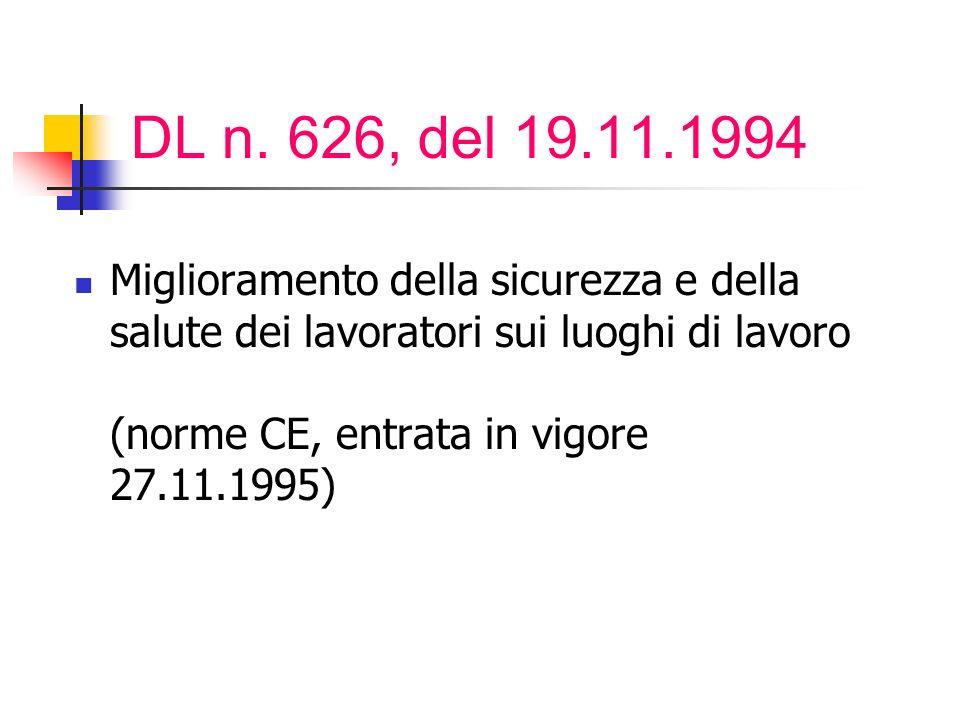 DL n. 626, del 19.11.1994 Miglioramento della sicurezza e della salute dei lavoratori sui luoghi di lavoro (norme CE, entrata in vigore 27.11.1995)