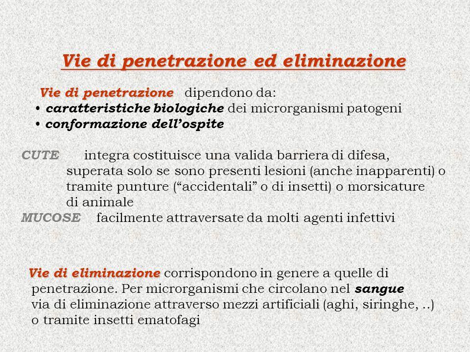 Vie di penetrazione ed eliminazione Vie di penetrazione Vie di penetrazione dipendono da: caratteristiche biologiche dei microrganismi patogeni conformazione dellospite Vie di eliminazione Vie di eliminazione corrispondono in genere a quelle di penetrazione.