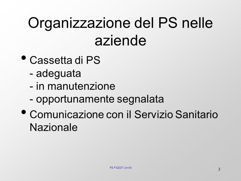 PS F42007 UniMI 3 Organizzazione del PS nelle aziende Cassetta di PS - adeguata - in manutenzione - opportunamente segnalata Comunicazione con il Serv