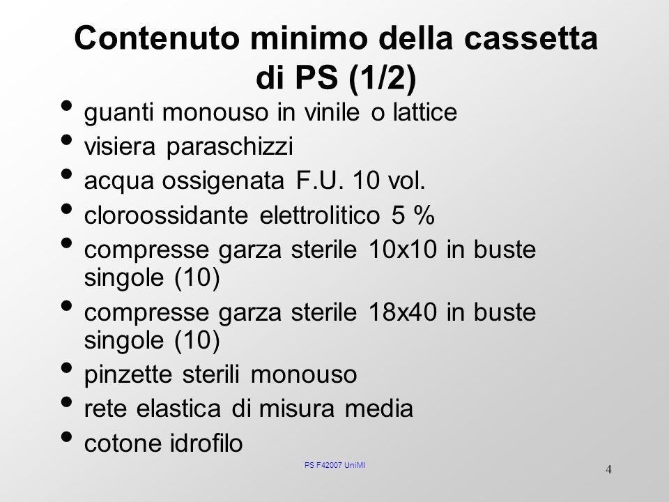 PS F42007 UniMI 4 Contenuto minimo della cassetta di PS (1/2) guanti monouso in vinile o lattice visiera paraschizzi acqua ossigenata F.U. 10 vol. clo