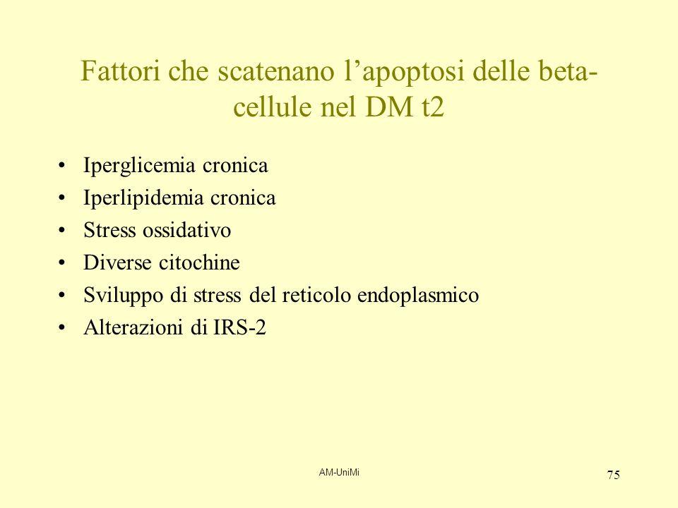AM-UniMi 75 Fattori che scatenano lapoptosi delle beta- cellule nel DM t2 Iperglicemia cronica Iperlipidemia cronica Stress ossidativo Diverse citochi