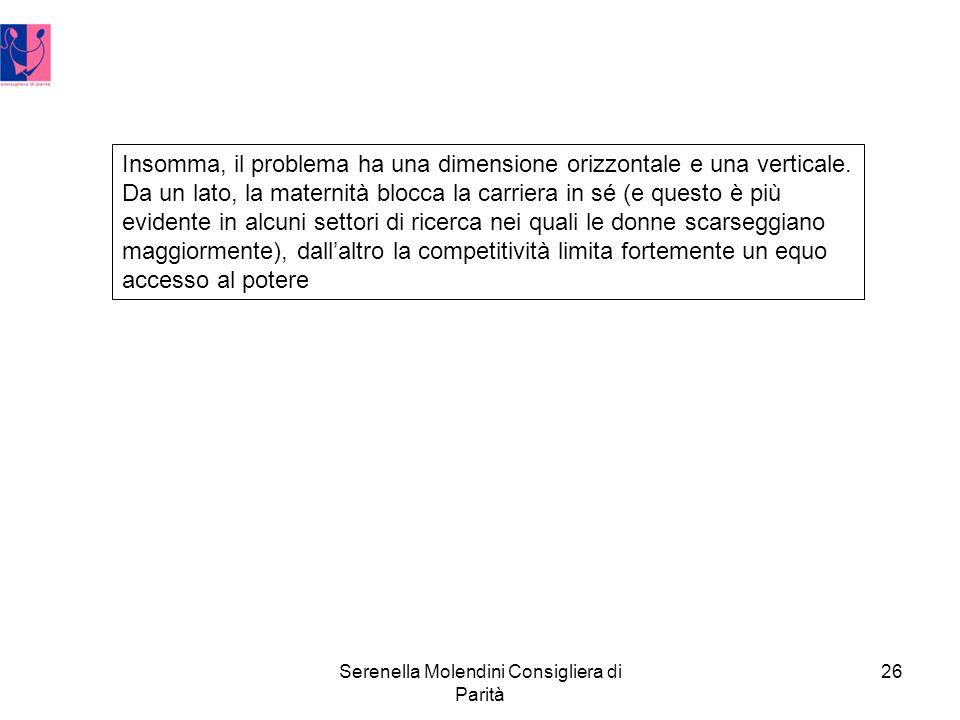 Serenella Molendini Consigliera di Parità 26 Insomma, il problema ha una dimensione orizzontale e una verticale.