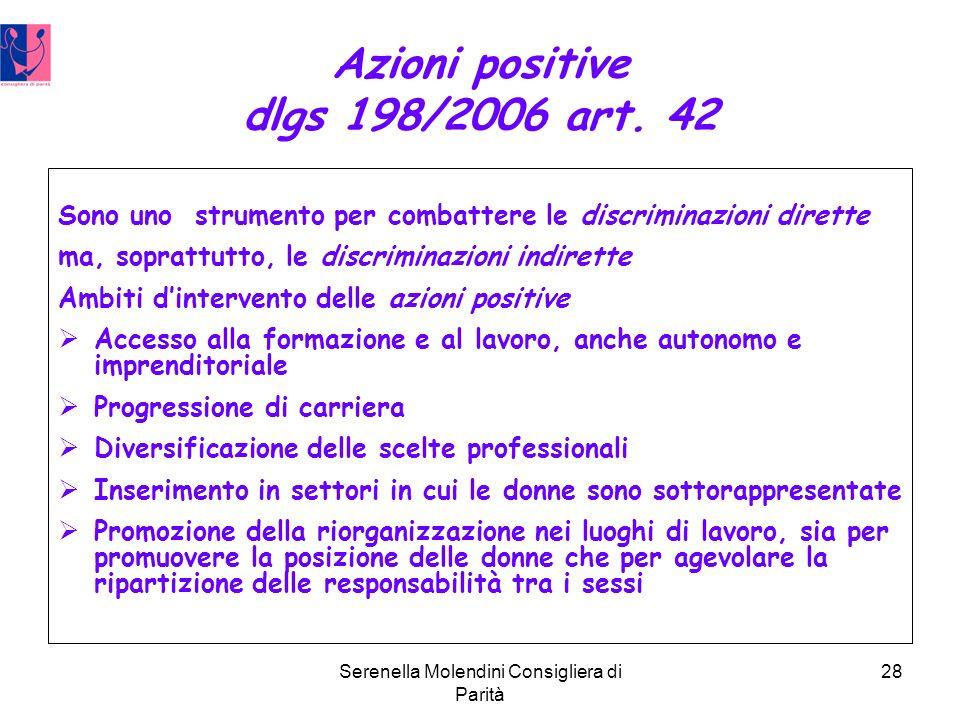Serenella Molendini Consigliera di Parità 28 Azioni positive dlgs 198/2006 art.