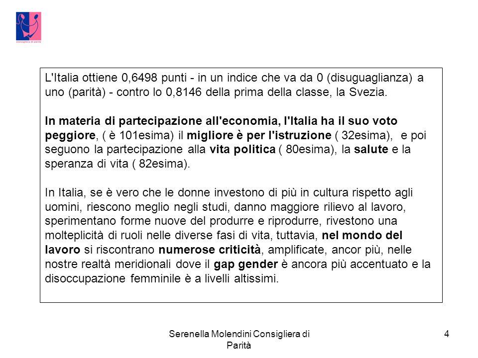 Serenella Molendini Consigliera di Parità 4 L Italia ottiene 0,6498 punti - in un indice che va da 0 (disuguaglianza) a uno (parità) - contro lo 0,8146 della prima della classe, la Svezia.