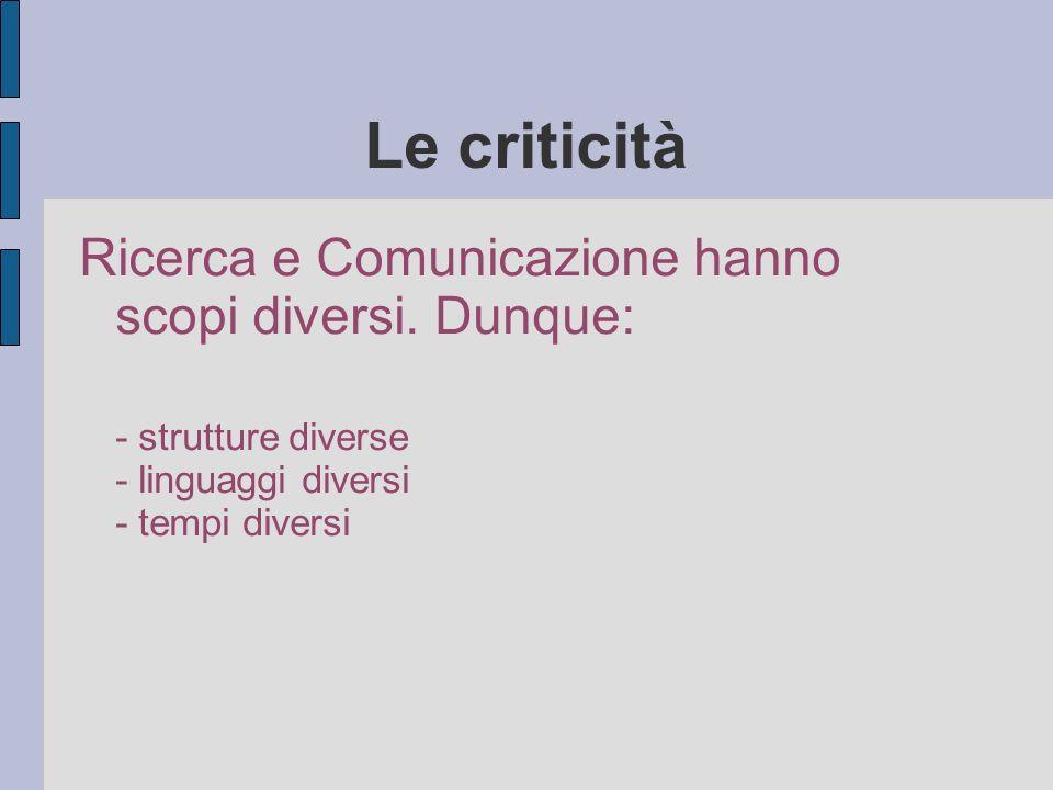 Le criticità Ricerca e Comunicazione hanno scopi diversi.