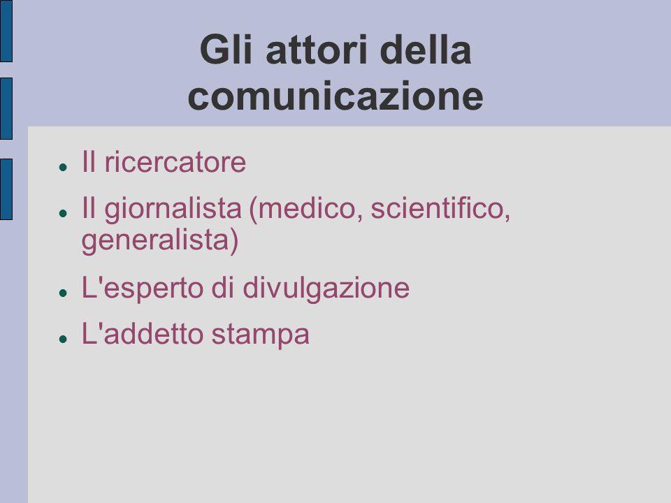 Gli attori della comunicazione Il ricercatore Il giornalista (medico, scientifico, generalista) L esperto di divulgazione L addetto stampa