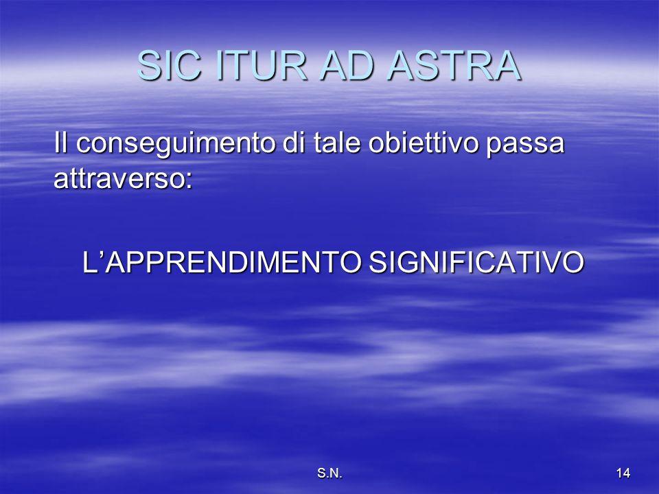 S.N.14 SIC ITUR AD ASTRA Il conseguimento di tale obiettivo passa attraverso: LAPPRENDIMENTO SIGNIFICATIVO LAPPRENDIMENTO SIGNIFICATIVO