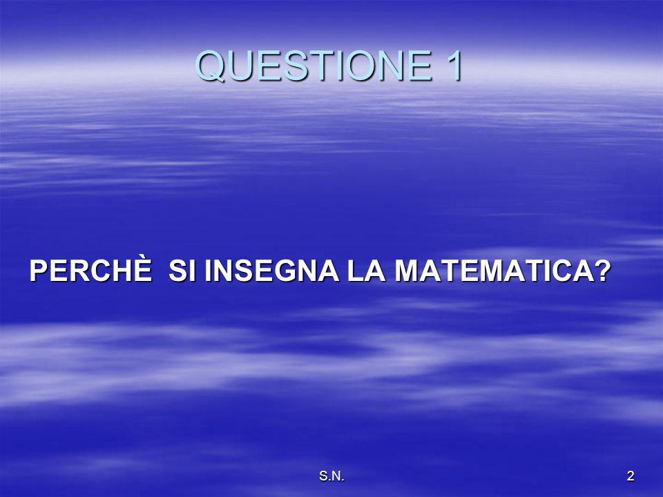 S.N.2 QUESTIONE 1 PERCHÈ SI INSEGNA LA MATEMATICA?