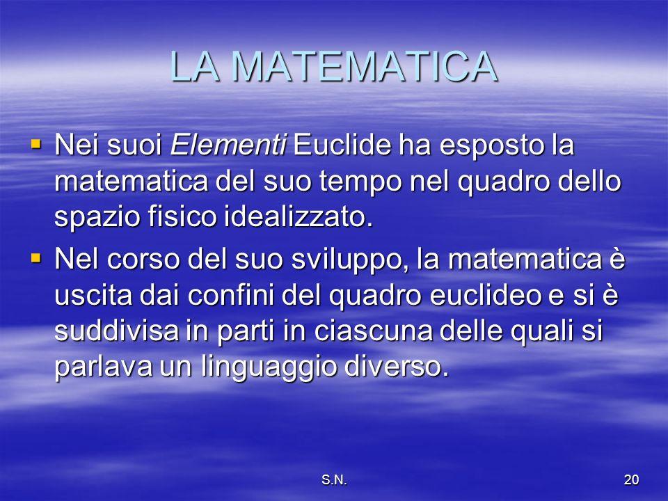 S.N.20 LA MATEMATICA Nei suoi Elementi Euclide ha esposto la matematica del suo tempo nel quadro dello spazio fisico idealizzato.