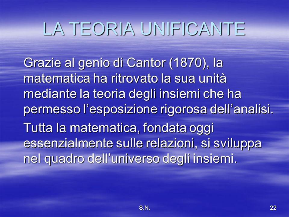 S.N.22 LA TEORIA UNIFICANTE Grazie al genio di Cantor (1870), la matematica ha ritrovato la sua unità mediante la teoria degli insiemi che ha permesso lesposizione rigorosa dellanalisi.