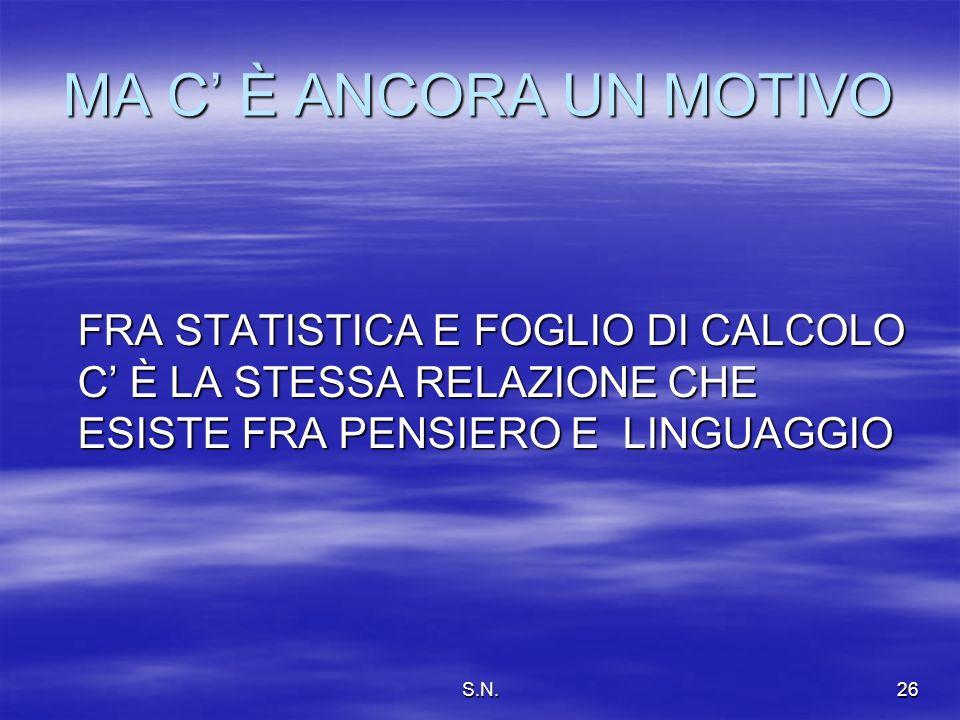 S.N.26 MA C È ANCORA UN MOTIVO FRA STATISTICA E FOGLIO DI CALCOLO C È LA STESSA RELAZIONE CHE ESISTE FRA PENSIERO E LINGUAGGIO