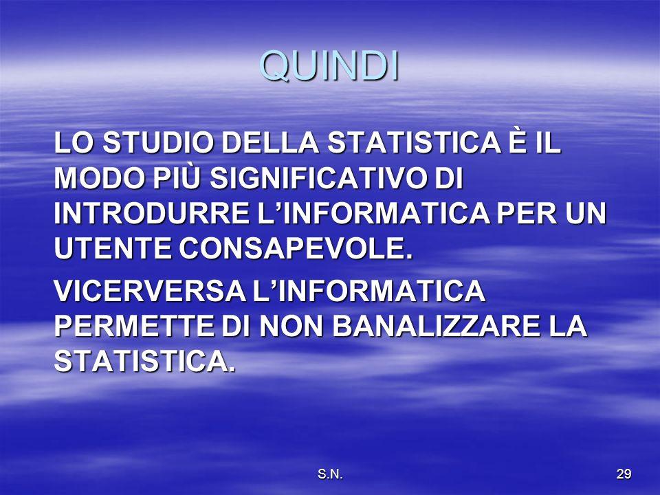 S.N.29 QUINDI LO STUDIO DELLA STATISTICA È IL MODO PIÙ SIGNIFICATIVO DI INTRODURRE LINFORMATICA PER UN UTENTE CONSAPEVOLE.