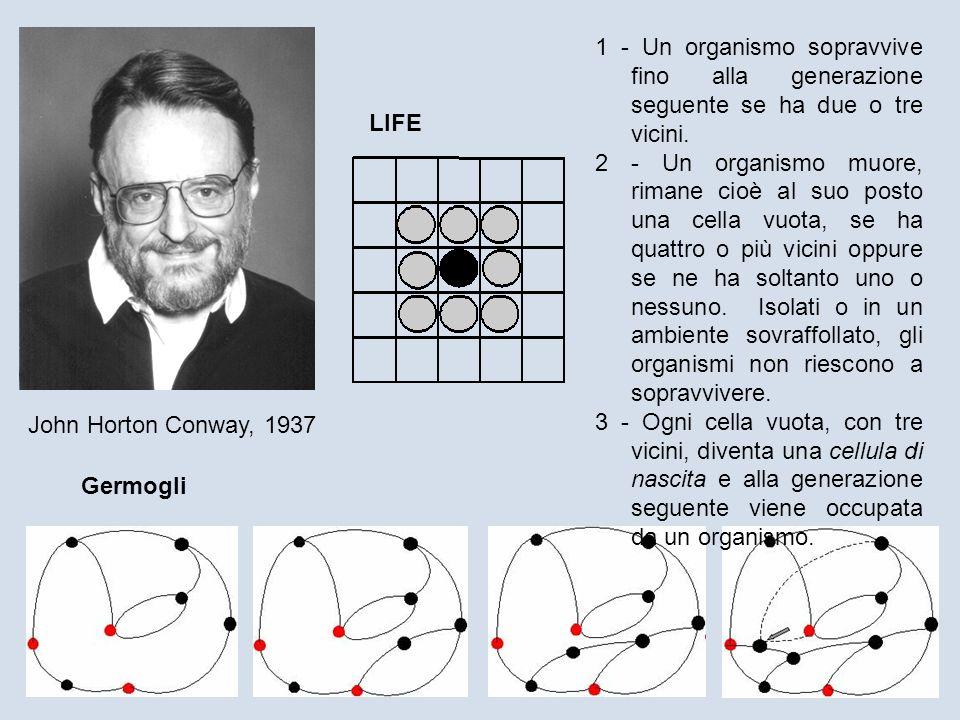 John Horton Conway, 1937 Germogli LIFE 1 - Un organismo sopravvive fino alla generazione seguente se ha due o tre vicini. 2 - Un organismo muore, rima