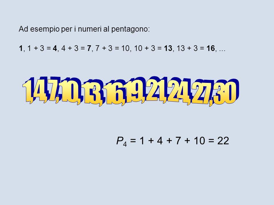 1, 1 + 3 = 4, 4 + 3 = 7, 7 + 3 = 10, 10 + 3 = 13, 13 + 3 = 16,... Ad esempio per i numeri al pentagono: P 4 = 1 + 4 + 7 + 10 = 22
