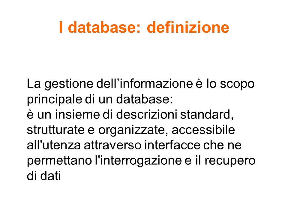 I database: definizione La gestione dellinformazione è lo scopo principale di un database: è un insieme di descrizioni standard, strutturate e organiz