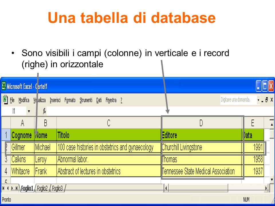 Una tabella di database Sono visibili i campi (colonne) in verticale e i record (righe) in orizzontale