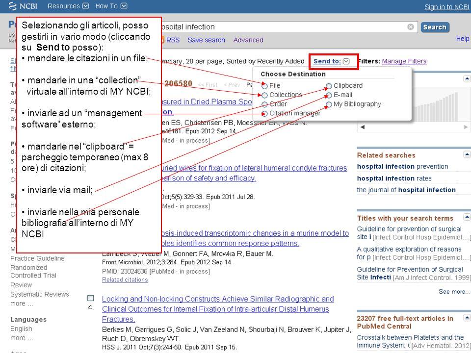 Selezionando gli articoli, posso gestirli in vario modo (cliccando su Send to posso): mandare le citazioni in un file; mandarle in una collection virt