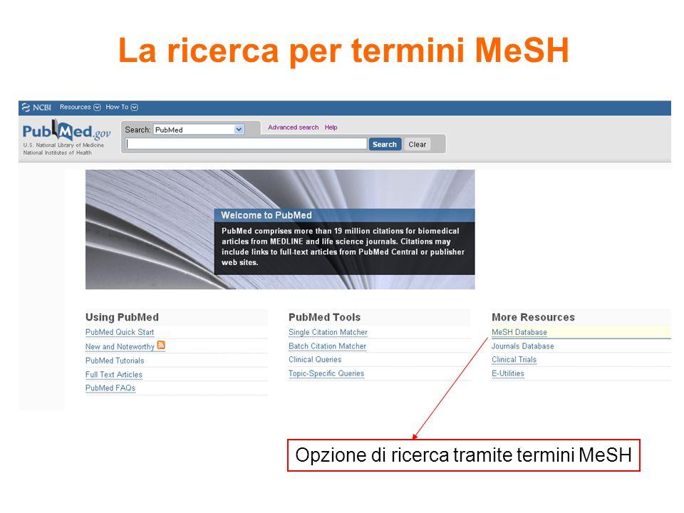 La ricerca per termini MeSH Opzione di ricerca tramite termini MeSH