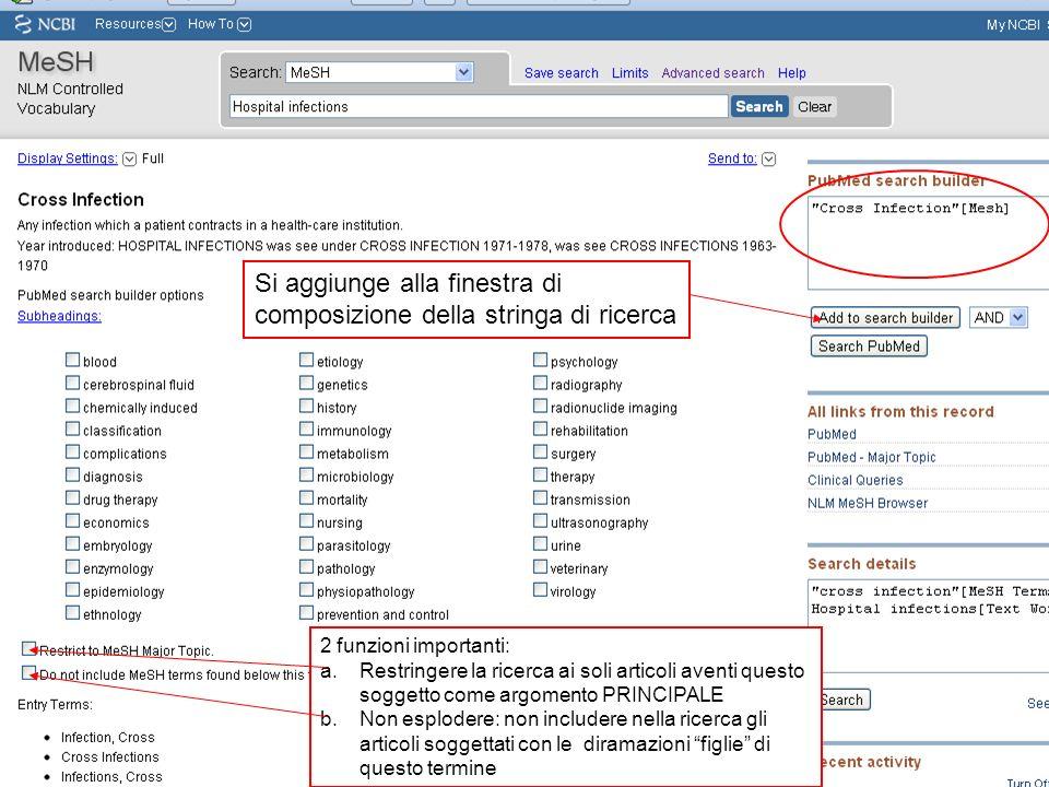 Si aggiunge alla finestra di composizione della stringa di ricerca 2 funzioni importanti: a.Restringere la ricerca ai soli articoli aventi questo sogg