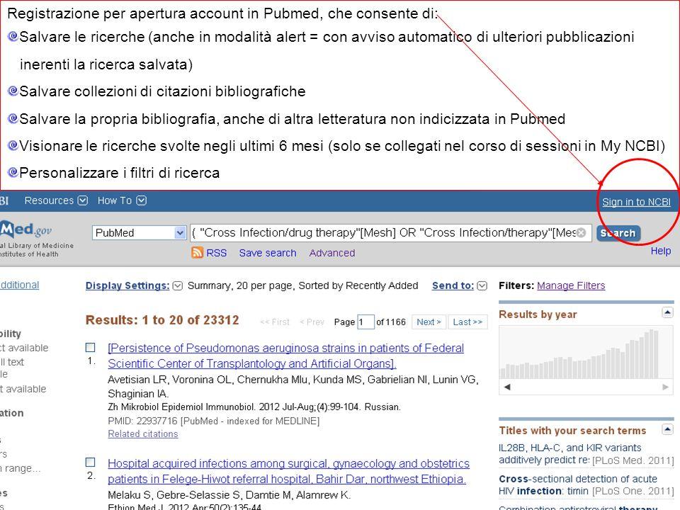 Registrazione per apertura account in Pubmed, che consente di: Salvare le ricerche (anche in modalità alert = con avviso automatico di ulteriori pubbl