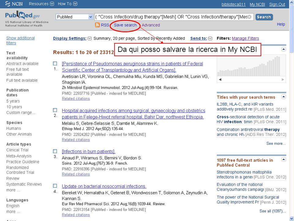Da qui posso salvare la ricerca in My NCBI