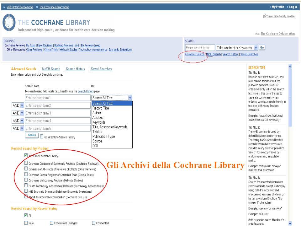 Gli Archivi della Cochrane Library