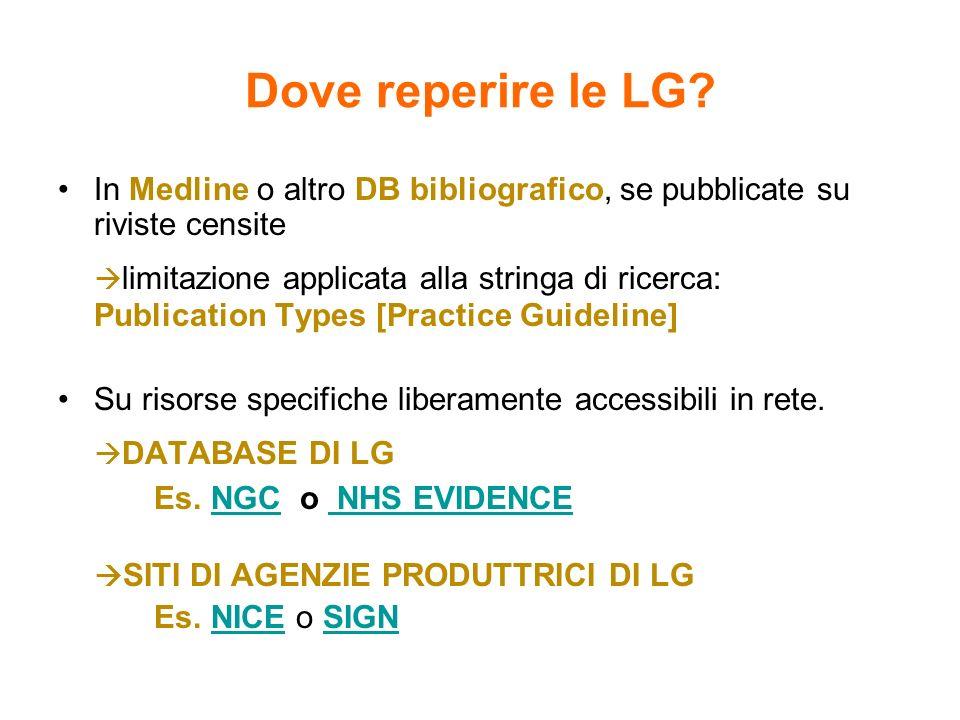 Dove reperire le LG? In Medline o altro DB bibliografico, se pubblicate su riviste censite limitazione applicata alla stringa di ricerca: Publication