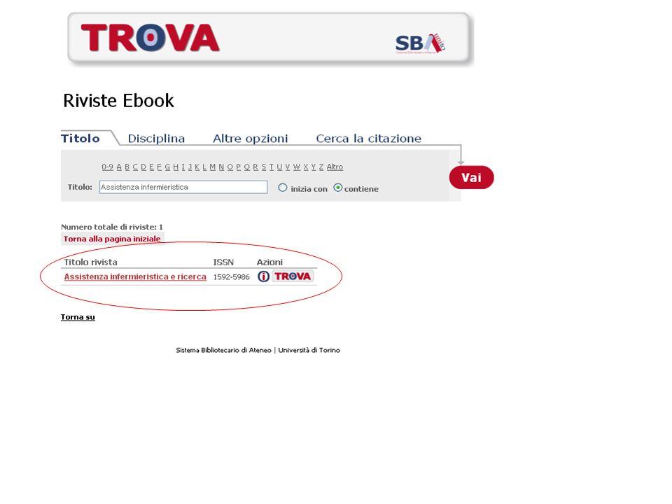 La chiave per accedere: a.alleventuale full-text b.