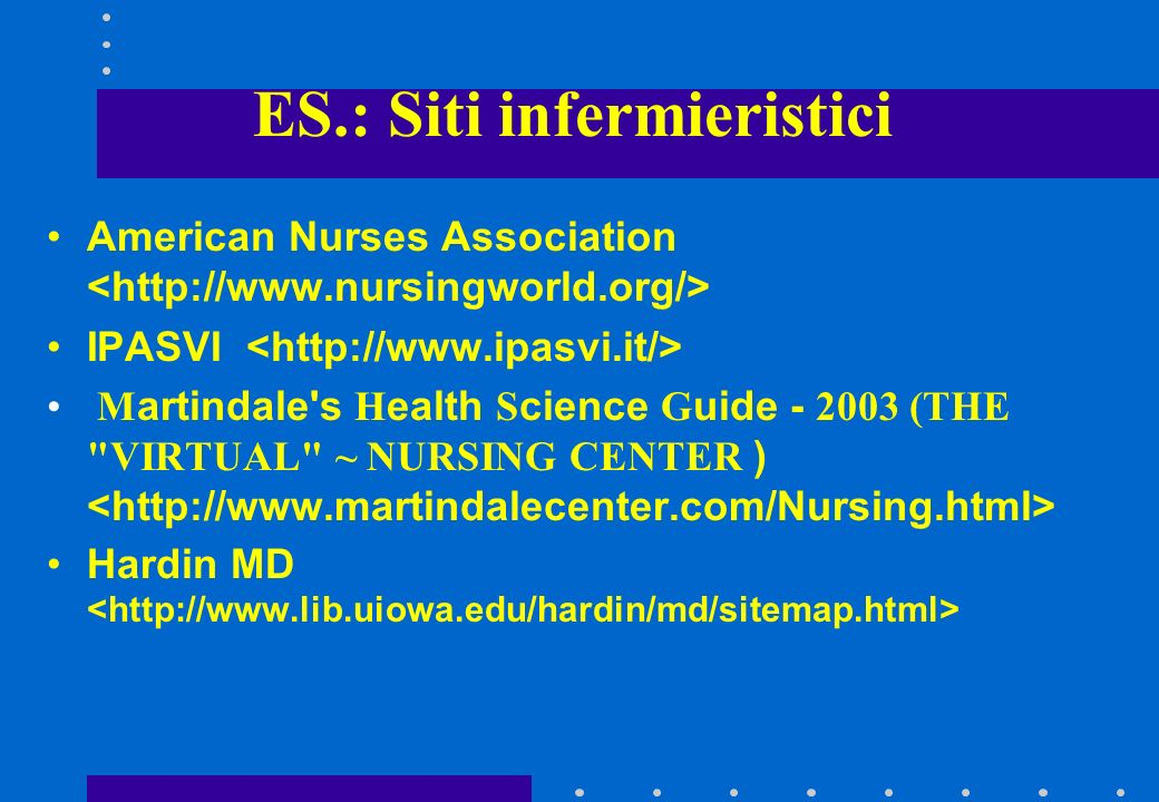 ES.: Siti infermieristici American Nurses Association IPASVI Martindale s Health Science Guide - 2003 (THE VIRTUAL ~ NURSING CENTER ) Hardin MD