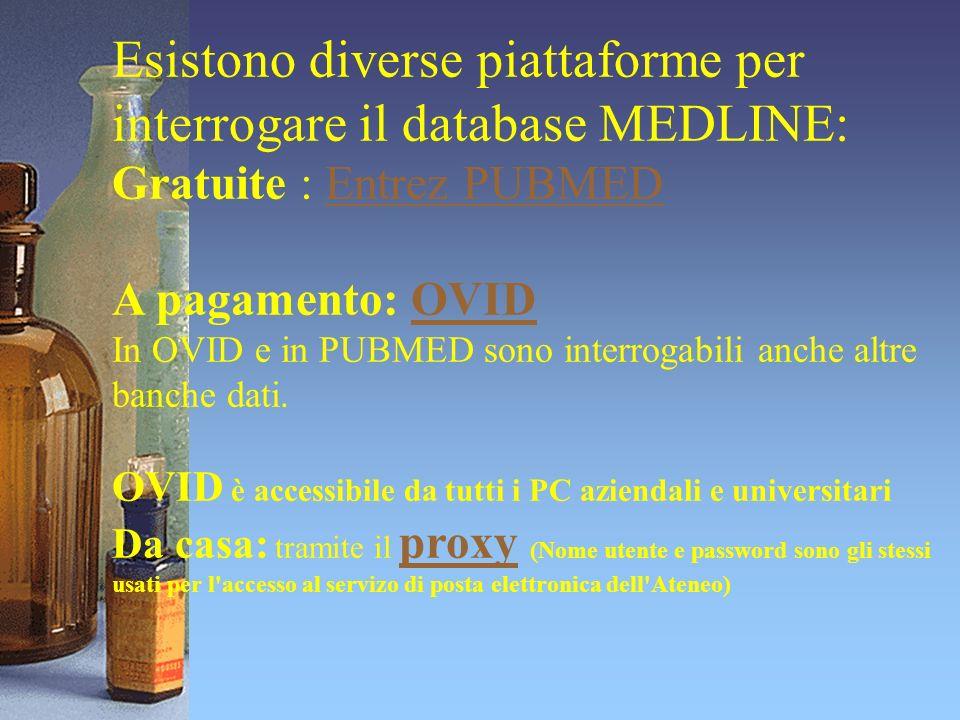 Esistono diverse piattaforme per interrogare il database MEDLINE: Gratuite : Entrez PUBMEDEntrez PUBMED A pagamento: OVIDOVID In OVID e in PUBMED sono