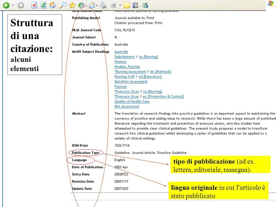 Struttura di una citazione: alcuni elementi tipo di pubblicazione (ad es. lettera, editoriale, rassegna). lingua originale in cui l'articolo è stato p