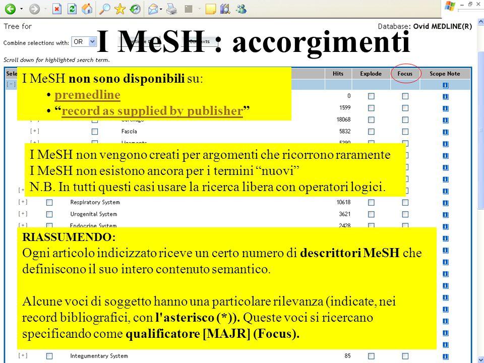I MeSH non sono disponibili su: premedline record as supplied by publisher I MeSH non vengono creati per argomenti che ricorrono raramente I MeSH non