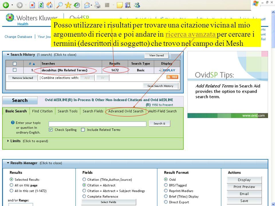 Posso utilizzare i risultati per trovare una citazione vicina al mio argomento di ricerca e poi andare in ricerca avanzata per cercare i termini (desc