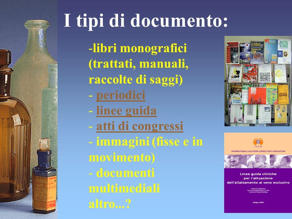 I tipi di documento: -libri monografici (trattati, manuali, raccolte di saggi) - periodiciperiodici - linee guidalinee guida - atti di congressiatti d