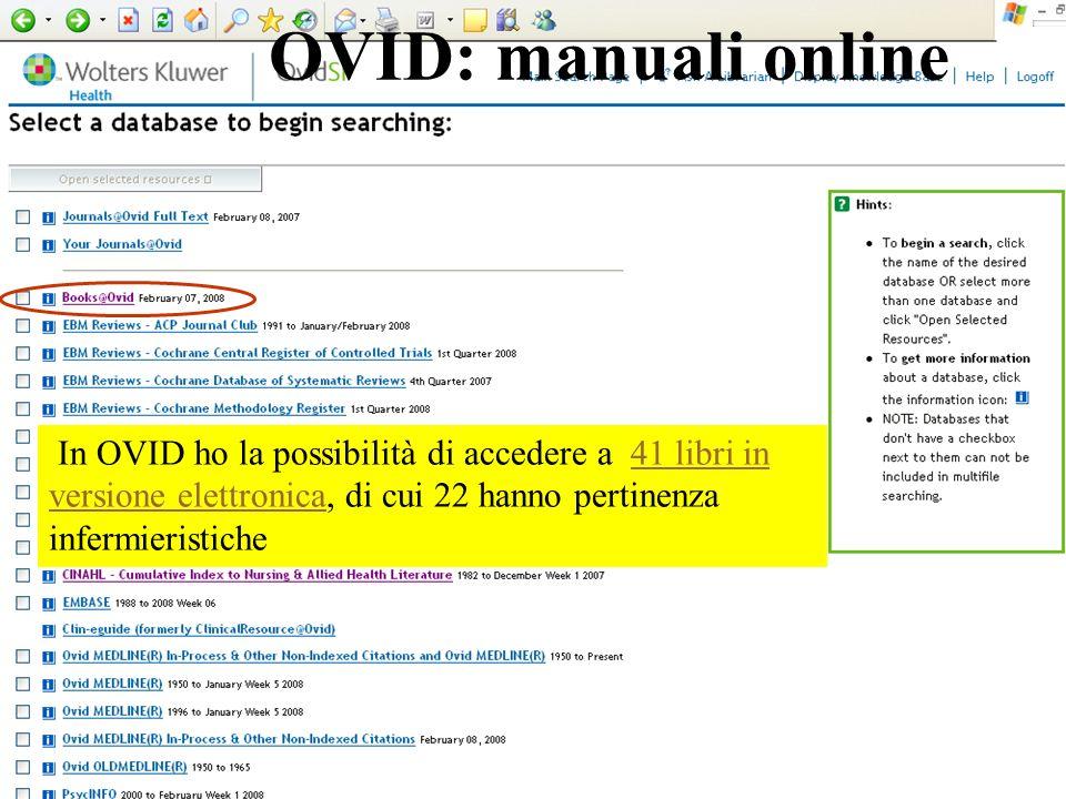OVID: manuali online In OVID ho la possibilità di accedere a 41 libri in versione elettronica, di cui 22 hanno pertinenza infermieristiche41 libri in