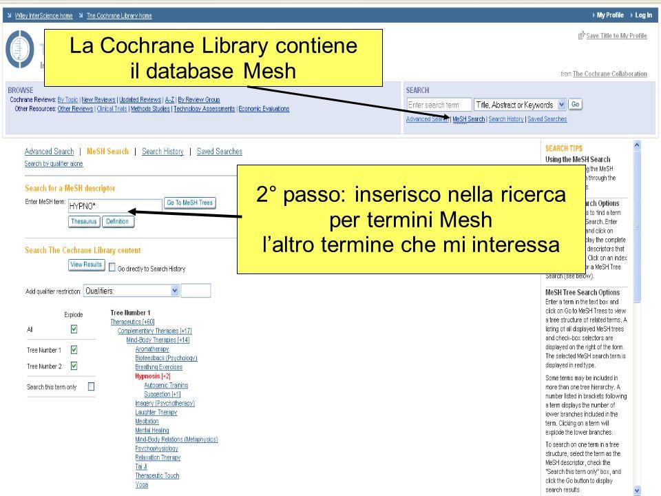 2° passo: inserisco nella ricerca per termini Mesh laltro termine che mi interessa La Cochrane Library contiene il database Mesh