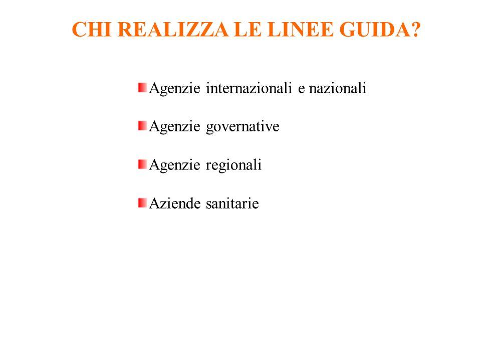 CHI REALIZZA LE LINEE GUIDA? Agenzie internazionali e nazionali Agenzie governative Agenzie regionali Aziende sanitarie
