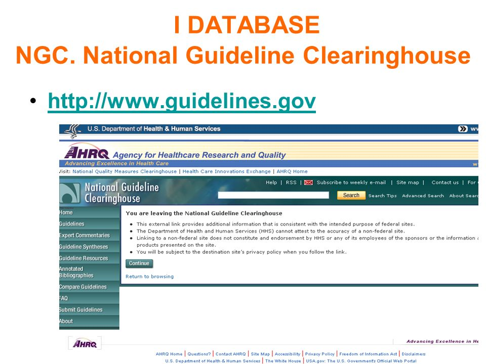 I DATABASE NGC. National Guideline Clearinghouse http://www.guidelines.gov Tecniche della ricerca nelle banche dati online