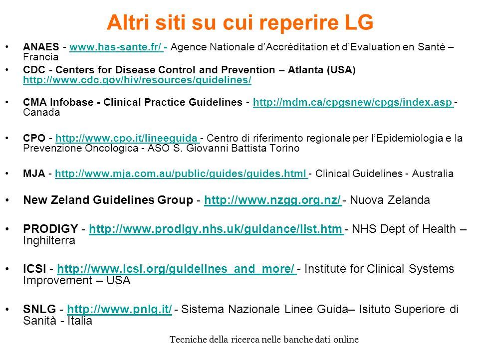 Altri siti su cui reperire LG ANAES - www.has-sante.fr/ - Agence Nationale dAccréditation et dEvaluation en Santé – Franciawww.has-sante.fr/ CDC - Cen