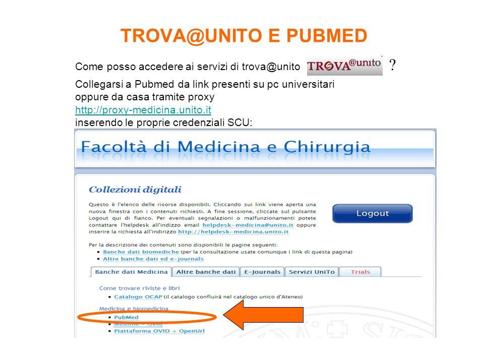TROVA@UNITO E PUBMED Come posso accedere ai servizi di trova@unito ? Collegarsi a Pubmed da link presenti su pc universitari oppure da casa tramite pr