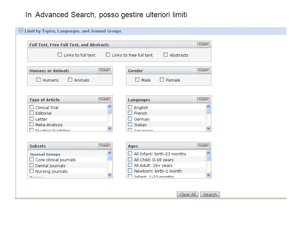 In Advanced Search, posso gestire ulteriori limiti
