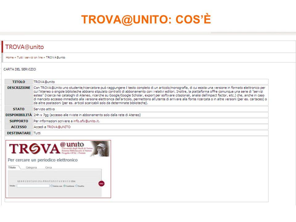 TROVA@UNITO: COSÈ