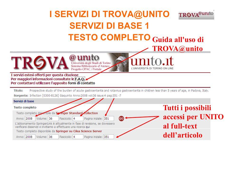 I SERVIZI DI TROVA@UNITO SERVIZI DI BASE 1 TESTO COMPLETO Tutti i possibili accessi per UNITO al full-text dellarticolo Guida all'uso di TROVA@unito